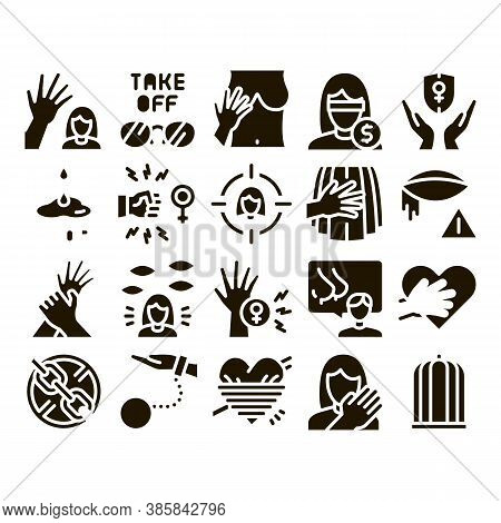 Sexual Harassment Glyph Set Vector. Victim And Woman Sexual Harassment, Molestation And Assault, Vio