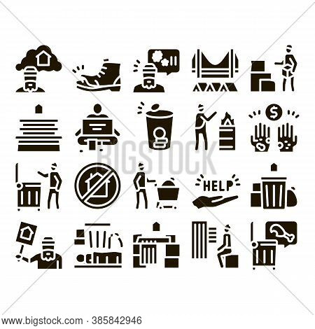 Homeless Beggar People Glyph Set Vector. Homelessness And Shoe, Living On Streets Poor Human, Trash