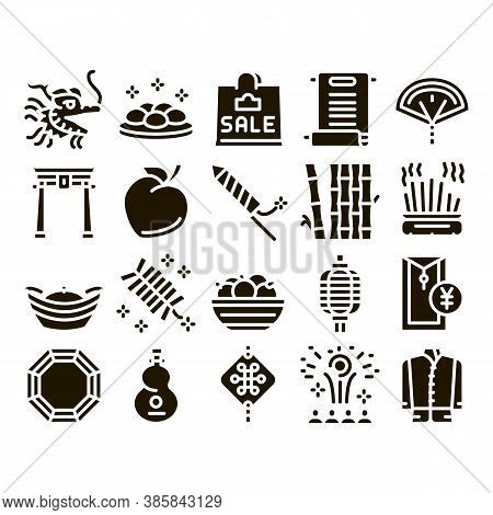 Chinese New Year Feast Glyph Set Vector. Chinese Traditional Hat And Clothes, Dragon And Gate, Lante