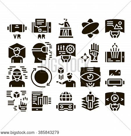 Simulation Equipment Glyph Set Vector. Virtual Reality Vr Glasses And Simulation Device, 360 Degree