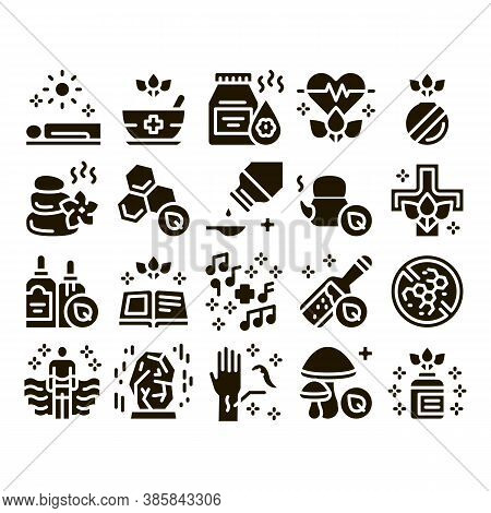 Traditional Naturopathy Medicine Icons Set Vector. Naturopathy Alternative Therapy With Honey And He