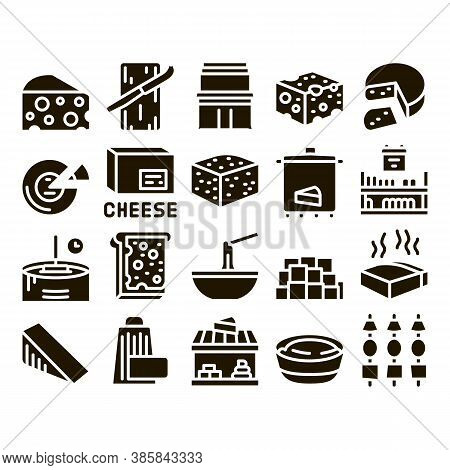 Cheese Dairy Food Glyph Set Vector. Cheese On Sliced Bread Sandwich Breakfast And Milky Product Piec