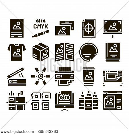 Polygraphy Printing Service Icons Set Vector. Polygraphy And Scanner Equipment And Ink, Paper List W