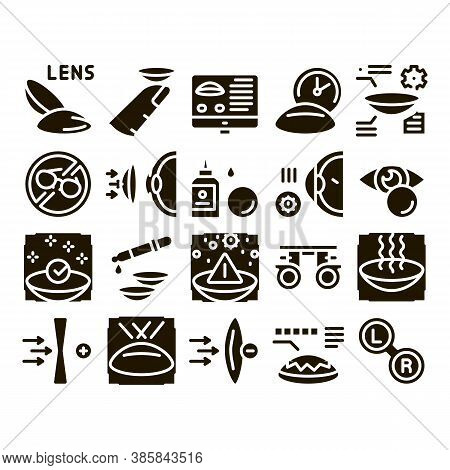 Contact Lens Accessory Glyph Set Vector. Contact Lens On Finger, Eyedropper With Liquid, Eye Tool In