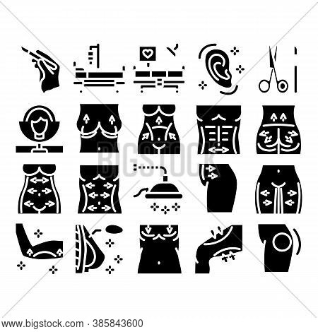 Plastic Surgery Clinic Glyph Set Vector. Scissors And Scalpel Doctor Instrument, Breast And Abdomen