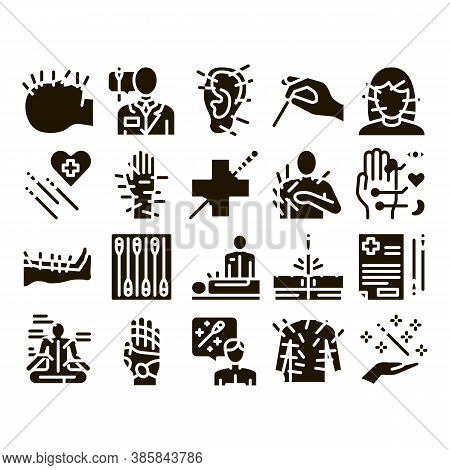 Acupuncture Therapy Glyph Set Vector. Human Head And Hand, Ear, Face And Body Acupuncture, Doctor An