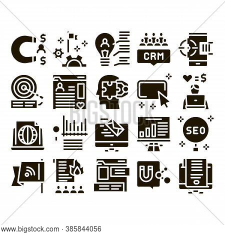 Inbound Marketing Glyph Set Vector. Growth Roi And Seo, Attract And Crm, Email, And Social Media And