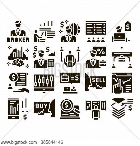 Broker Advice Business Glyph Set Vector. Broker Businessman And Consultant, Sell And Buy, Profession