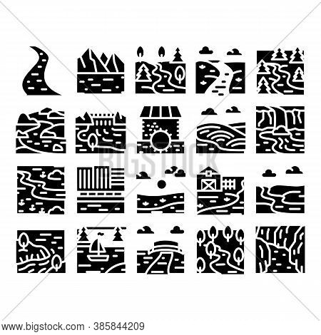 River Landscape Glyph Set Vector. River With Mountain And Forest, Bridge And City Buildings, Water M