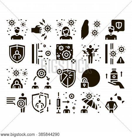 Immunity Human Biological Defense Icons Set Vector. Protective Bacterias, Syringe And Shield, Vitami