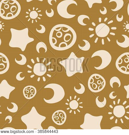 Astronomy Themed Seamless Vector Pattern In Mustard Yellow. Chunky Doodle Shapes Surface Print Desig