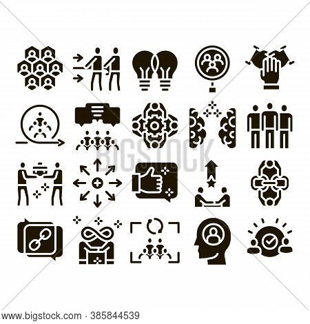 Collaboration Work Glyph Set Vector. Human And Brain Collaboration, Worker Research And Handshake, C