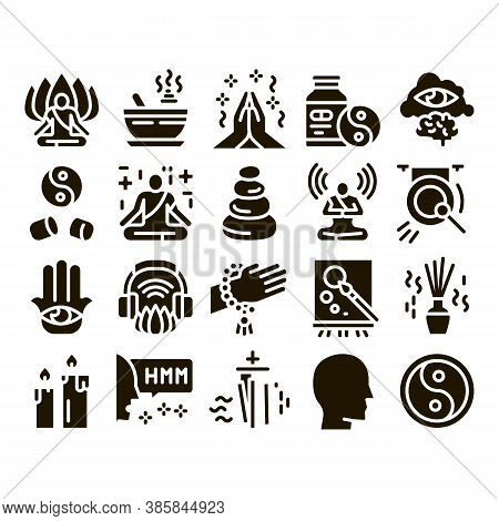 Meditation Practice Glyph Set Vector. Meditation Yoga Relaxation Aromatic Therapy, Human Concentrati