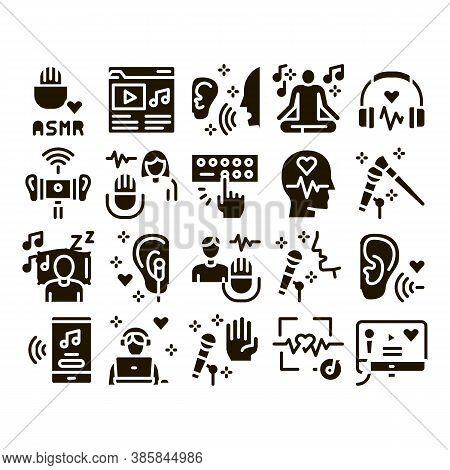 Asmr Sound Phenomenon Glyph Set Vector. Asmr Autonomous Sensory Meridian Response, Microphone And Ea