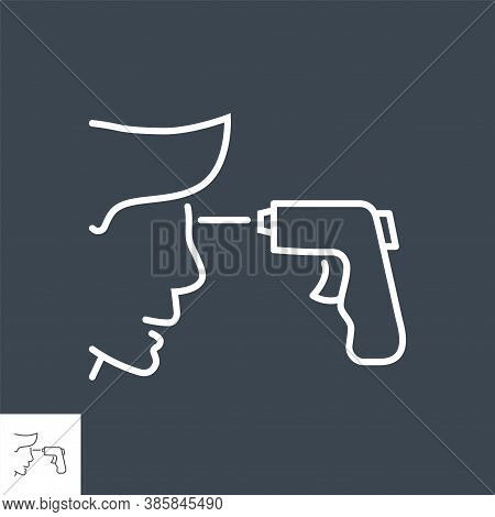 Infrared Thermometr Related Vector Thin Line Icon. Infrared Thermometer Measures A Person Temperatur