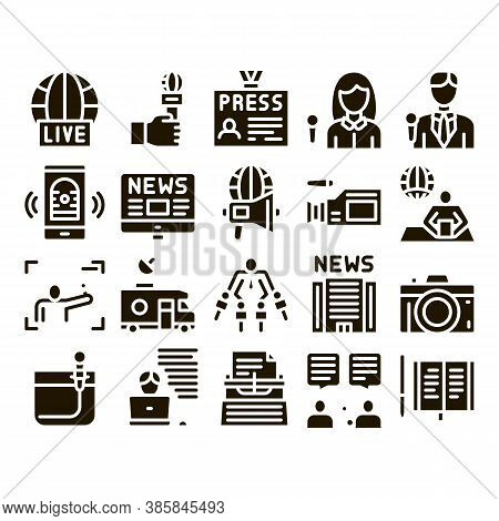 Journalist Reporter Glyph Set Vector Thin Line. Journalist And Hand With Microphone, Video And Photo