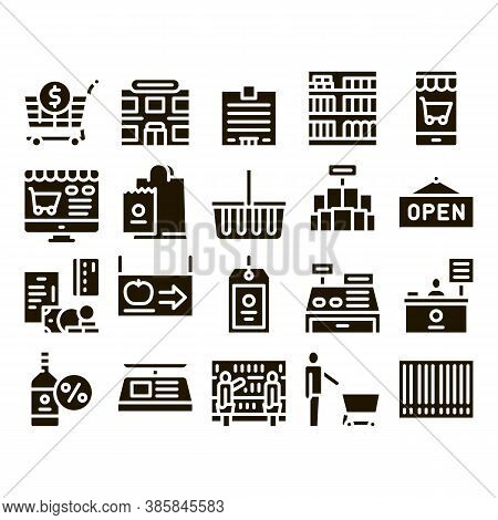Grocery Shop Shopping Glyph Set Vector Thin Line. Internet Grocery Shop Or In Super Market, Scales A