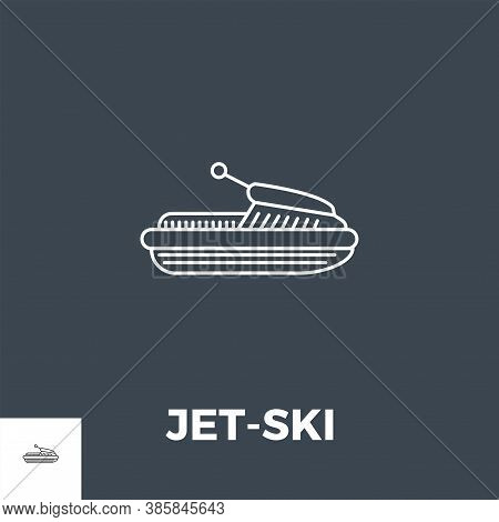 Jet-ski Related Vector Thin Line Icon. Isolated On Black Background. Vector Illustration.