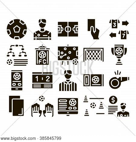 Soccer Football Game Glyph Set Vector Thin Line. Soccer Playing Ball, Player And Arbitrator Man Silh