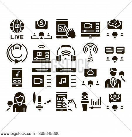 Podcast And Radio Glyph Set Vector Thin Line. Internet Global Live Broadcasting Podcast, Headphones,