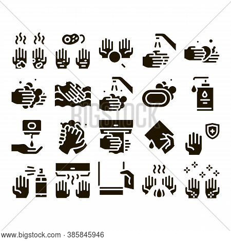 Hand Healthy Hygiene Glyph Set Vector Thin Line. Hand Protection, Washing With Anti Bacterial Soap A