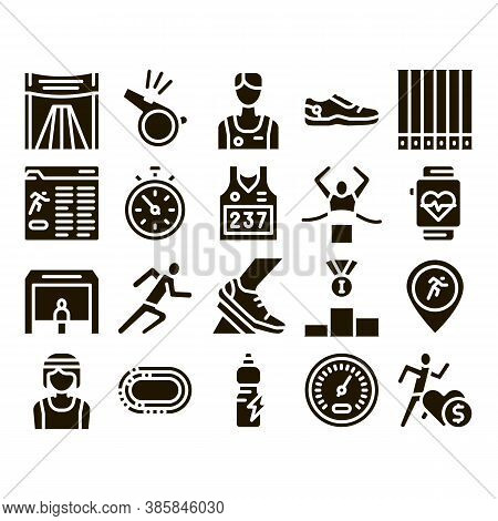 Marathon Collection Elements Icons Set Vector Thin Line. Human Athlete Silhouette Running And Unifor