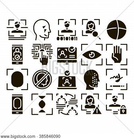 Recognition Collection Elements Icons Set Vector Thin Line. Eye Scanning, Biometric Recognition, Fac
