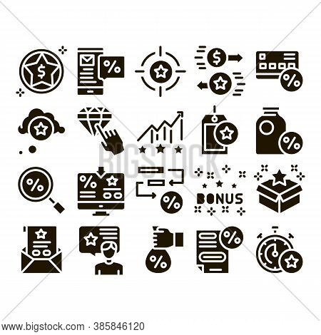 Bonus Hunting Collection Elements Icons Set Vector Thin Line. Magnifier And Bag With Percent Mark, S