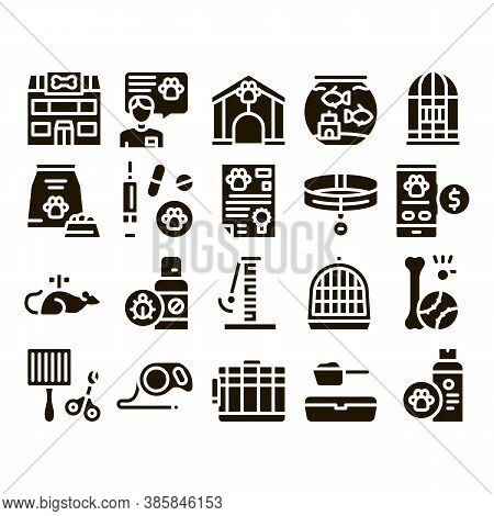 Pet Shop Collection Elements Icons Set Vector Thin Line. Shop Building And Aquarium, Bowl And Collar