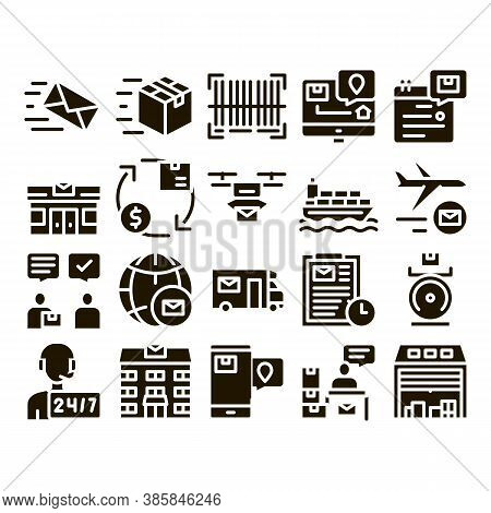 Postal Transportation Company Icons Set Vector Thin Line. Hotline Support And Postal Building, Ship