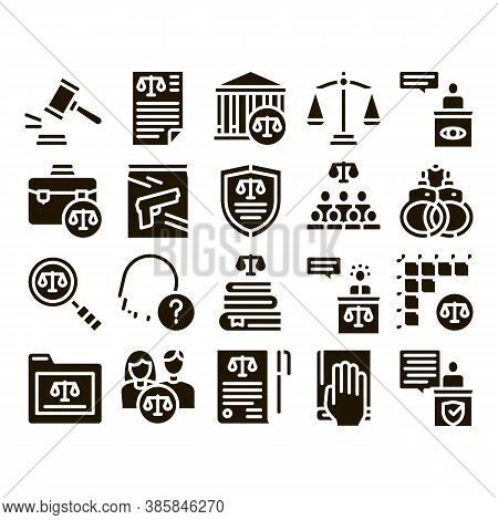 Law And Judgement Glyph Set Vector Thin Line. Courthouse And Judge, Gun And Magnifier, Fingerprint A