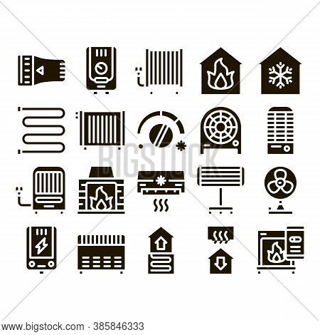 Heating And Cooling Collection Vector Icons Set Thin Line. Cool And Humidity, Airing, Ionisation And