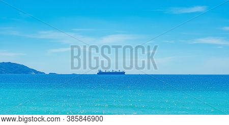 Beauty Panorama Skyline In Pure Blue Azure Sea, Clear Sky Background, Empty Sea Only Sailing Vessel