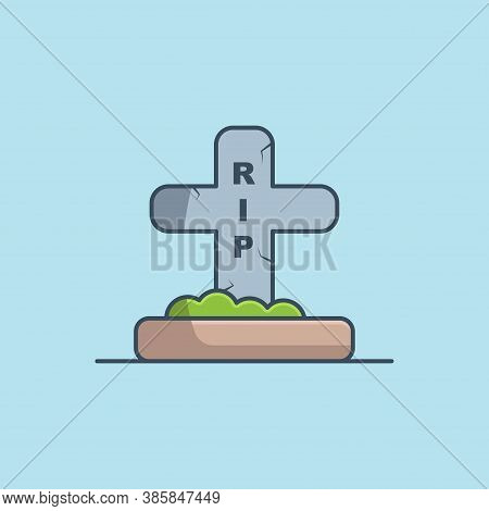 Grave Vector Icon Illustration. Halloween Tombstone Vector