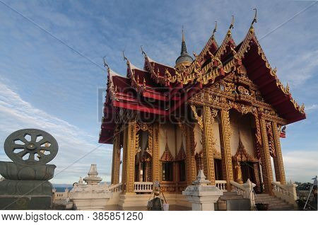 Nakhon Ratchasima, Thailand - 9 August 2020 : The Chapel, Or Uposatha Hall At Wat Pa Phu Hai Long Is