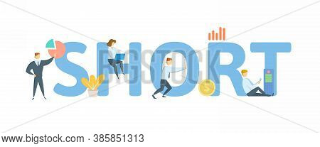 Short, Market Term. Concept With Keyword, People And Icons. Flat Vector Illustration. Isolated On Wh
