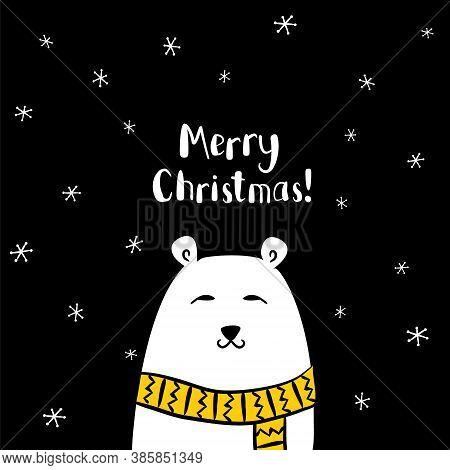 Vector Christmas Card With Polar Bear. Merry Christmas Poster. Polar Bear In A Scarf. Black And Whit