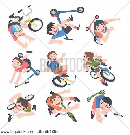 Kids Falling Down From Bikes Set, Traumatic Situations, Health Risk, Pain, Injury Cartoon Style Vect
