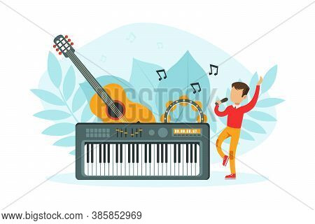 Tiny Boy Singing With Microphone, Tiny Boy Singing With Microphone With Huge Musical Instruments Gui