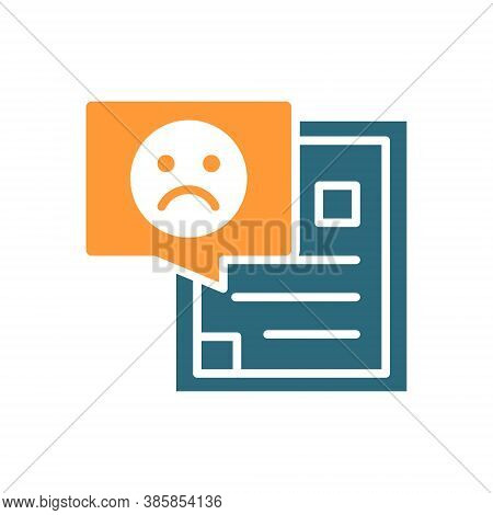 Document With Sad Face Colored Icon. Profile, Dislike, Upset Customer, Disapprove Symbol