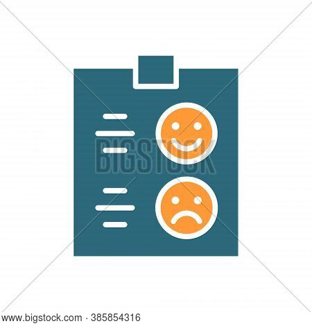 Questionnaire For Evaluating Service Colored Icon. Tablet With Paper, Test, Happy Or Sad Face Symbol