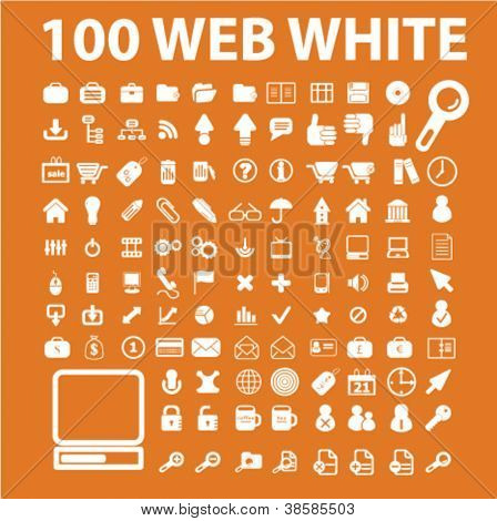 100 white media icons set, vector