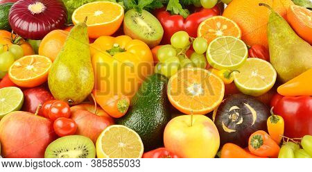 Collection of multi-colored bright fruits and vegetables. Natural background