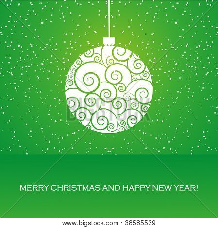 Vector greeting card with christmas ball