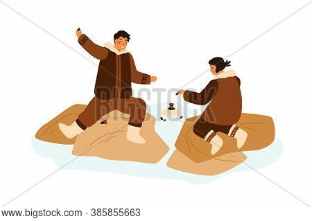 Happy Eskimo Teenagers Playing Game Having Fun Together Vector Flat Illustration. Boy And Girl Build