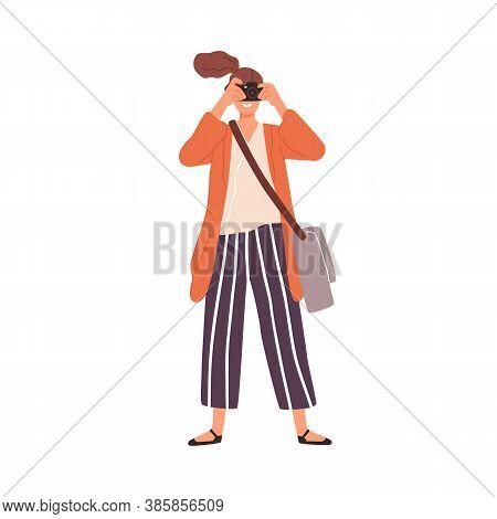 Joyful Woman Take Photo Use Camera Vector Flat Illustration. Smiling Female Tourist Holding Photogra