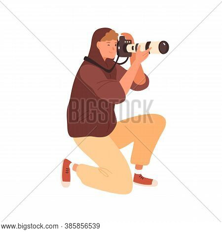 Smiling Male Professional Photographer Standing On Knee Take Photo Holding Camera With Telephoto Len