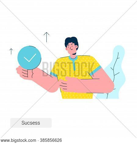 The Businessman Holds A Note About The Work Done In His Hand. Successful Work Done. Stock Illustrati