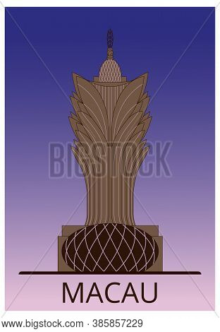 Macau Sight Vector Line Art Hight Building