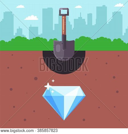 Look For Treasures Underground. Buried Diamond. Extract Valuable Resources. Flat Vector Illustration